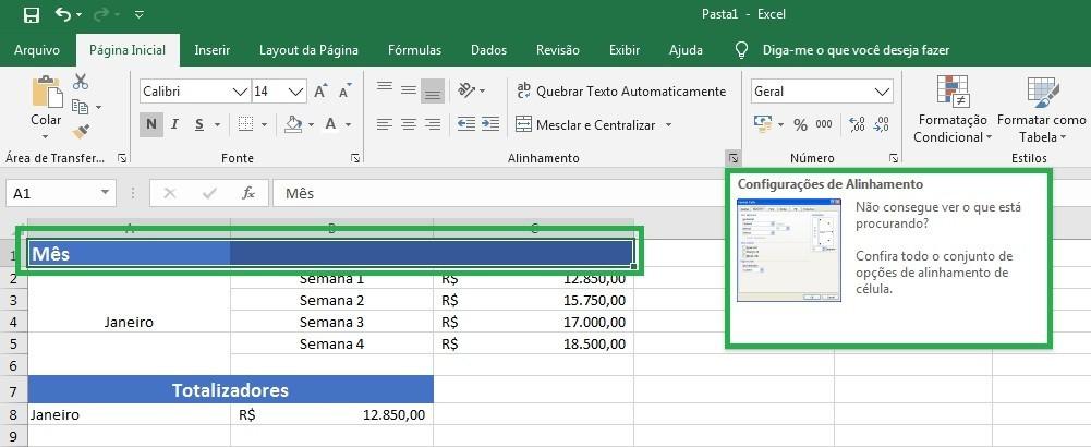 Configurações de Alinhamento no Excel