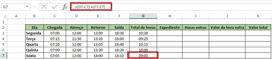 Para isso, vamos somar os dois turnos de trabalho, conforme demonstramos na imagem abaixo: