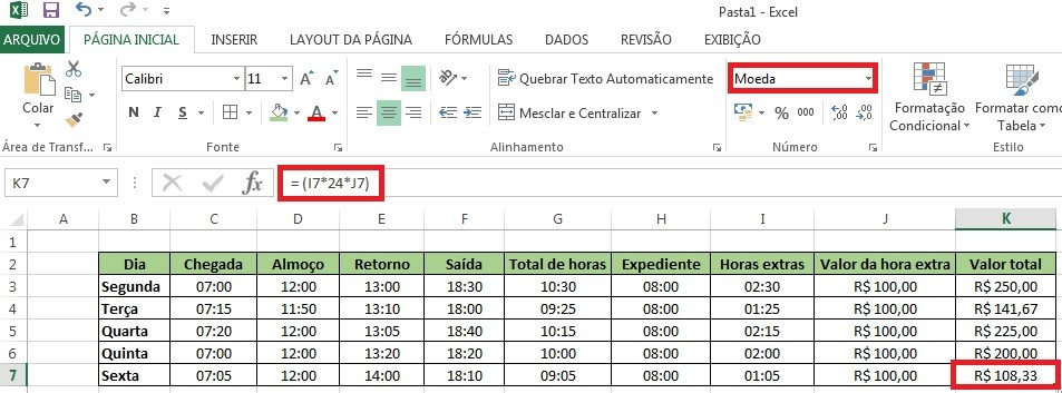 Calculando o valor da hora extra no excel